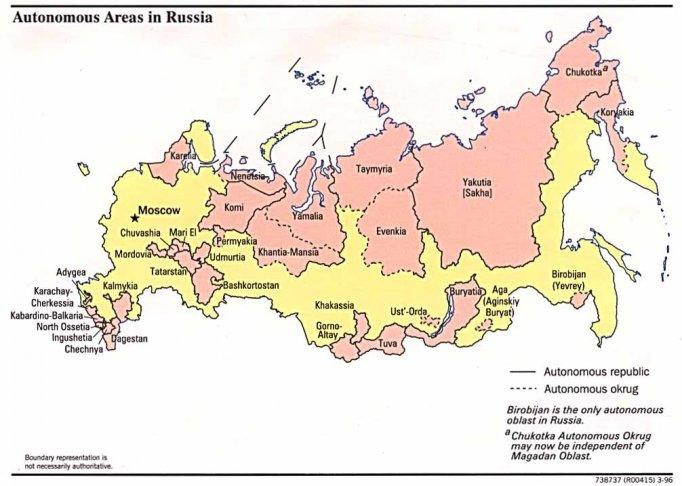 Map of Russia s autonomous