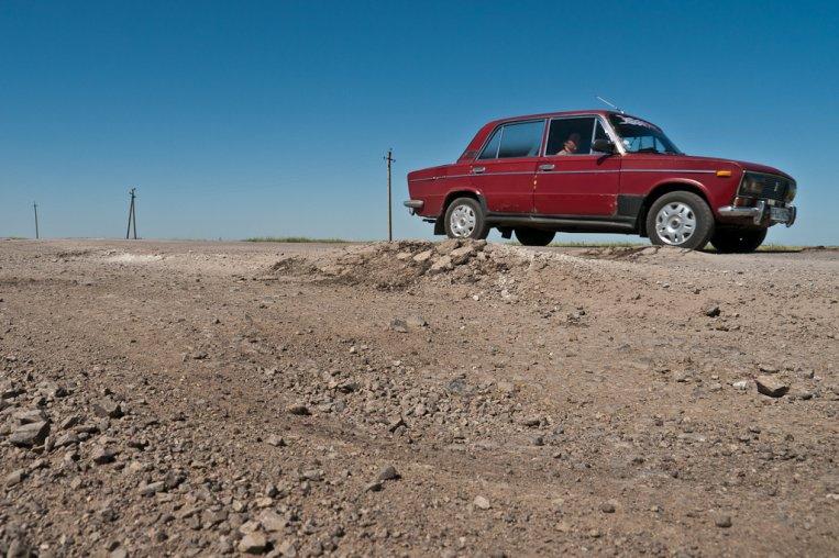 Lada driving in Kazakhstan
