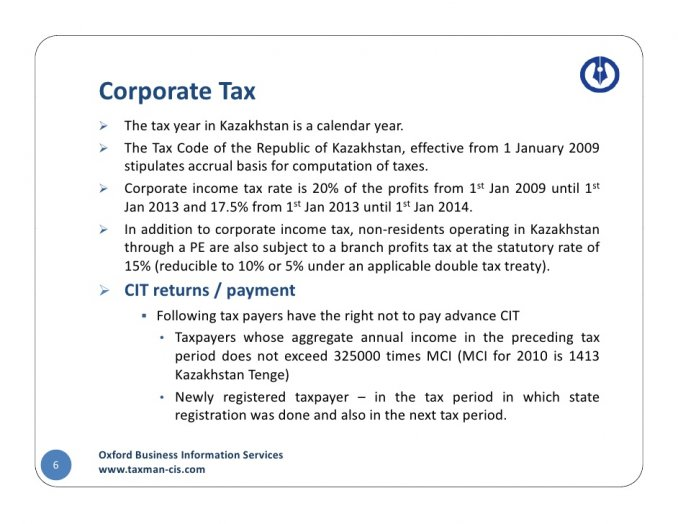 Corporate Tax Corporate Tax