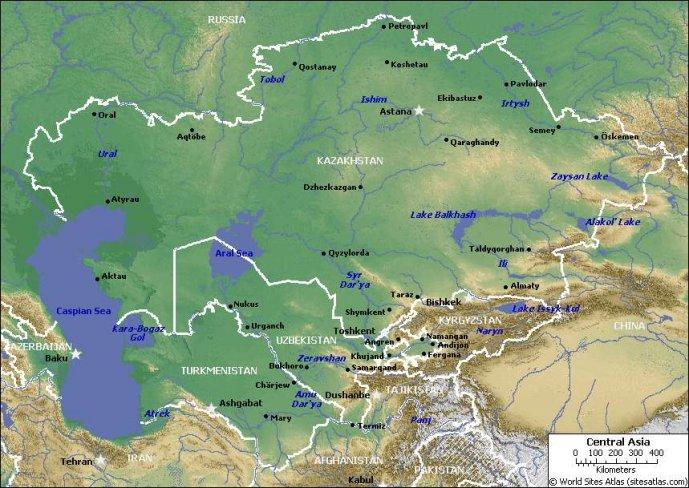 Kazakhstan Physical Map