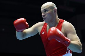 Ivan Dychko, of Kazakhstan, in action during the men's super heavyweight final of the 2014 Asian Games at Seonhak Gymnasium on Oct. 3 in Incheon, South Korea. Photo by Suhaimi Abdullah/Getty Images