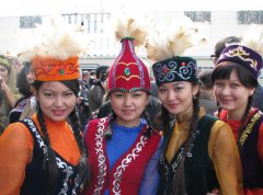 The beautiful Kazakh girls in their national dresses ( Image: Jonathan Newell )