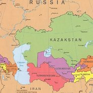 Map of Kazakhstan and surrounding countries