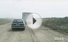Driving on a dirt road in Kazakhstan