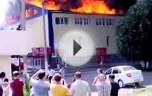 Fire at Pizza House Petropavlovsk Kazakhstan